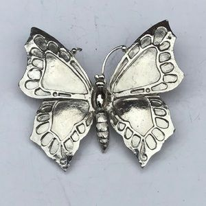 Vintage Large Silver Butterfly Brooche